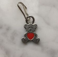 ** SALE ** CUTE FOR CHILDREN 2 TEDDY BEAR with Red Heart PEWTER ZIPPER PULLS New