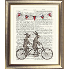 ART PRINT ON DICTIONARY PAGE Tandem Bicycle Hare Dictionary Rabbit VINTAGE Wall