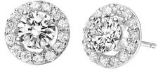 Luxury Diamante Silver Circle Zircon Bridal Wedding Party Earrings Studs E630