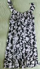 WOMEN'S ANN TAYLOR LOFT BLACK & CREAM FLORAL PRINT RUFFLE DRESS SIZE 8 NWT!