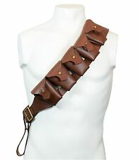 British Army P1903 5 POCKET BANDOLIER Brown Leather - Repro Ammo Pouch Carrier