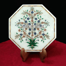 """12"""" White Marble Serving Plate Lapis Malachite Floral Inlay Home Kitchen H3224"""