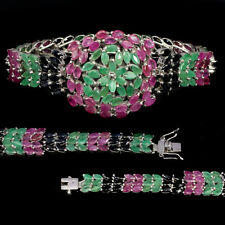 Unheated Marquise Emerald Ruby Sapphire 925 Sterling Silver Bracelet 7.5 Inches