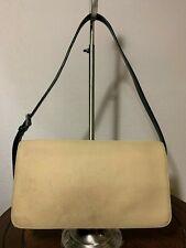 Coach Microfiber Khaki Canvas Black Leather Slim Flap Shoulder Handbag 7413