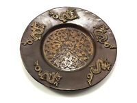 """Vintage Chinese Copper Solid Wall Hanging Plate Zodiac Dragon & Floral Design 9"""""""