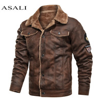 Men Old Fashioned Suede Leather Jackets Vintage Military Jacket Winter Coat Warm