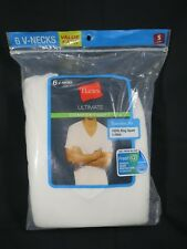 Hanes Men's V-Neck Tees 6 Pack Small 34-36 White Comfort Soft Fresh IQ ULTIMATE