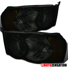 For 2002-2005 Dodge RAM 1500 2003-2005 RAM 2500 3500 Smoke Headlights Lamps Pair