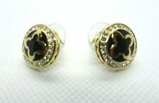 Marie Claire Black Enamel Clover Button  Gold Tone Earrings Swarovski Crystals