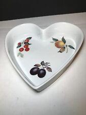 "New listing Heart Baking Dish by Bia Cordon Bleu - Appl/Cherrie/Grape Pattern - 10"" dia -"