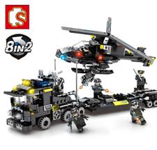 Bloques de construcción helicóptero militar niños Figur Juguetes Regalos modelo recoger 8 en 1