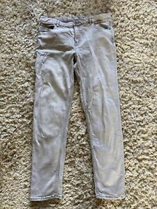 M&S Relaxed Slim Light Grey Jeans Size 14 Long