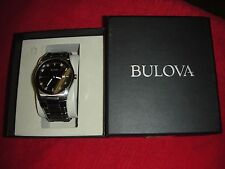 Bulova Mens 96D104 Diamond Accent Stainless Steel Black Dial Quartz Watch