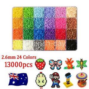 13000x For Hama Beads Kit Kids Fun DIY Craft 2.6mm 24 Colours Set Gift Toys