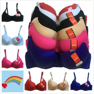 Lot 3 or 6 Women Plain Solid Color Padded Underwired 34DD-44DD Bra