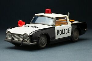 Bandai Daiya - Triumph TR4 Police tin car P.D. 200 1960s Made in Japan Vintage