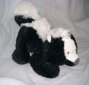 "12"" AURORA BABY BLACK WHITE STINKY SKUNK TUSHIES STUFFED ANIMAL PLUSH TOY 16855"