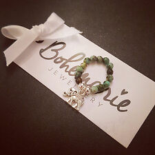 African turquoise elephant ring gemstone beaded bijoux jewellery boho gypsy