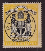 British Central Africa Sc #27 (1895) 3sh yellow Coat of Arms Used Blantyre CDS