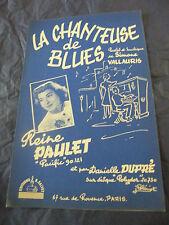 Partition La chanteuse de blues Reine Paulet 1957 Music Sheet