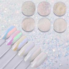 6 Pcs White Holographic Aurora Nail Glitter Powder Unicorn Nail Art Decoration