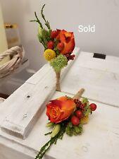 Luxury Buttonholes Rustic Wedding Fresh Flower Autumn