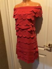 White House Black Market Scalloped Dress Coral Red 2 WHBM NWT $200