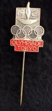 Vintage 1964 Tokyo Olympics souvenir dated stickpin with burning torch & 5 rings
