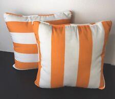 2 Decorative Pillow Cushion  & Covers In Cotton Canvas  Orange & White Striped