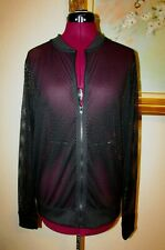 New Victoria'S Secret Sport Sz M Black Mesh Full Zip Polyester Jacket