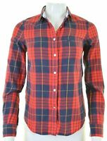 JACK WILLS Womens Shirt UK 6 XS Red Check Cotton Classic Fit  NR07