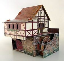 Cardboard model kit. The medieval town. Water mill. Wargame landscape.