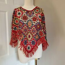 vintage Colorful patchwork crochet fringe stole poncho shawl hand-made hippie