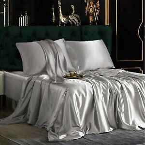 Satin Silky 3 Piece Bed Sheet Pillowslip Set Plain Color King/Queen/Full Size US
