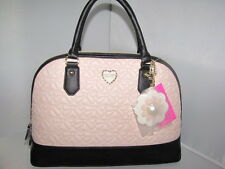 NWT Betsey Johnson large DOME blush pink quilted bows faux leather satchel bag