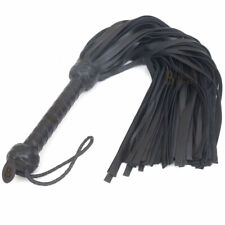 Real Genuine Cow Hide Leather Flogger 50 Falls Black Heavy Duty Thuddy whip