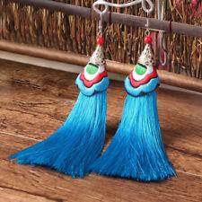 Colorful Womens Bohemian Earring Vintage Long Tassel Fringe Dangle Earrings #2 Blue