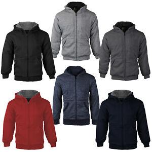 Boys Athletic Soft Sherpa Lined Kids Fleece Zip Up Hoodie Toddler Sweater Jacket