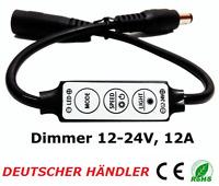 █►Mini Dimmer Controller Regler für LED Strips mit Adapter 5-24V bis 12A schwarz