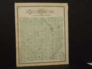 Michigan Hillsdale County Map Moscow  Township 1916  Y9#92