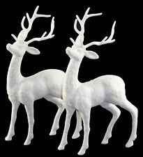 Set Of 2 White Glitter Reindeer Figurines - 24cm Christmas Decorations Ornaments