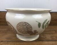 Lenox Natures Impressions Bowl Vase Cream 24K Gold Trim 9 Inch