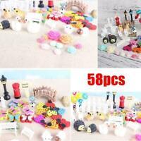 58Pcs/Set Garden Dollhouse Fairy Miniature Ornament Cute Gift DIY Decor C5A2