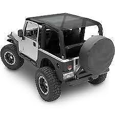 Smittybilt 94200 Black Mesh Extended Soft Top for Jeep Wrangler JK 2 Door