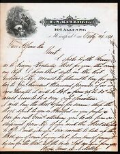 1871 Hartford -  E N Kellogg - History Kentucky Wool  Antique Letterhead Rare
