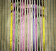 DESIGNERS GUILD Stripe silk multi color green pink violet chartreuse panel new
