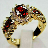 1.0/ct Red Ruby White CZ Wedding Ring 10KT Yellow Gold Filled Jewelry Size 6-10
