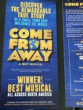 COME FROM AWAY flyer / handbill PHOENIX Theatre West end London X2