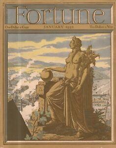 1932 Fortune January - Harvard in 41 photos' Juneau Alaska; IBM; New York;Athens