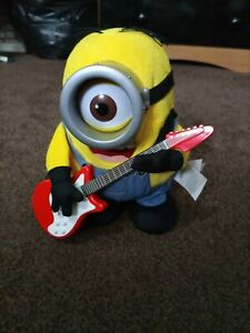 "Minions Rock N Roll Stuart With Guitar 9"" Talking Interactive Toy - Fully Tested"